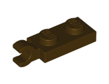 Plate, Modified 1 x 2 with Clip Horizontal on End, Dark Brown (63868 / 6141589)