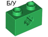 ! Б/У - Technic, Brick 1 x 2 with Axle Hole, Green (32064 / 4113840 / 4233489 / 6206248) - Б/У