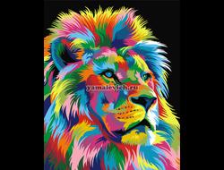 Картина (раскраска) по номерам на холсте - Радужный король лев, худ. Ваю Ромдони GX 9053