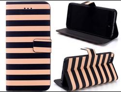 Кожаный чехол Elegant Brown Stripe Flip для iPhone 6 Plus/6s Plus