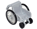 Minifig, Utensil Wheelchair with Trans-Clear Wheelchair Wheels and Black Trolley Wheels, Light Bluish Gray (24312c01)