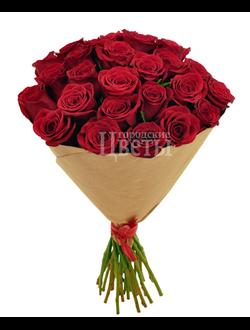 25 красных алых бордовых роз Freedom