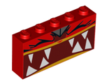 Brick 1 x 5 x 2 with Extremely Furious Ultrakatty Pattern, Red (39266pb03 / 6251085)