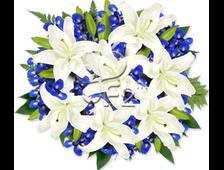 букет из белых Лилии и Ирисов