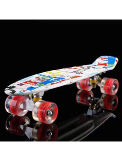 "Скейт Cruiser Board ""Street Hit"" Граффити со светящимися колесами, арт. A009W-15"
