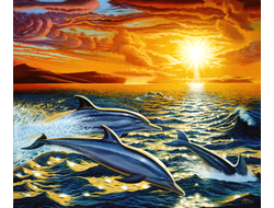 Картина (раскраска) по номерам на холсте - Дельфины на закате GX 9054