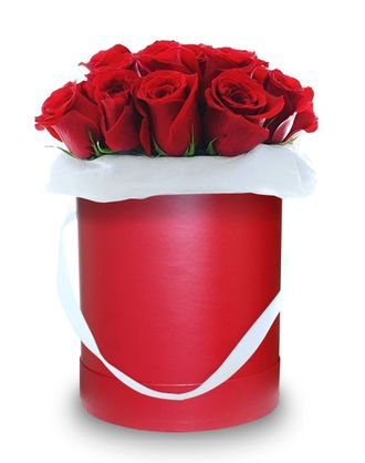 Red box red roses