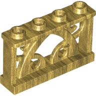 Fence 1 x 4 x 2 Ornamental with 4 Studs, Pearl Gold (19121 / 6097234)