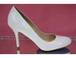 Туфли кожаные белые средний каблук шпилька 7 см удобная колодка на свадьбу № Е123-А254=А254