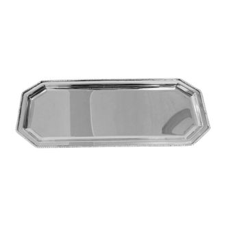 Поднос латунь RECTANGULAR TRAY GORTYNE NICKEL 33.75X12.5CM ALUарт.31748