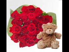 23 розы любого цвета с плюшевых милым медвежонком