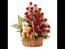 51 роза красная в корзине и мягкие игрушки Валентинка