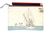 """Тканевый конверт для хранения канцелярии  """"Корабль"""" 20*14см"""