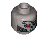Minifigure, Head Alien Skull with Red Eyes, Metal Eyebrows with Rivets and Metal Jaw with Screws Pattern - Hollow Stud, Flat Silver (3626cpb1084 / 6261653)