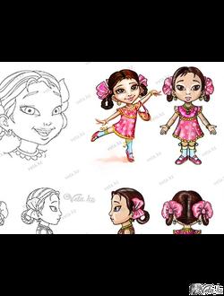 персонаж девочка, для Казахстанского мультфильма