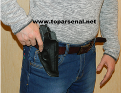 Russian authentic leather belt holster PM, MP-654K, Makarov, Walther PPK BLACK