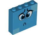 Brick 1 x 4 x 3 with Dark Azure Eyes, Worried Eyebrows, Sad Pout and Medium Azure Squares on Two Corners Pattern Queen Watevra WaNabi Face, Dark Azure (49311pb04 / 6263017)