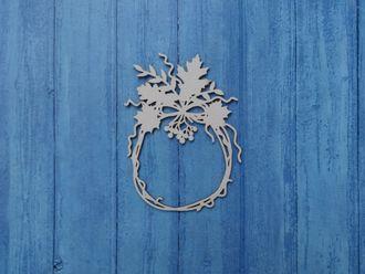 Чипборд Ажур рамка круглая с веточками листочками и рябиной