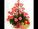 Корзина с цветами и фруктами № 1