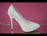 Распродажа туфли белые свадебные высокий каблук шпилька драпировка нос лаковый № 2