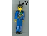 ! Б/У - Technic Figure Blue Legs, Blue Top with Technic Logo, Black Hair and Sunglasses (Set 8300), n/a (tech016a) - Б/У