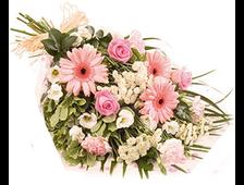 Букет розовый Каприз-розовые Герберы с розовыми розами
