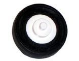 Wheel Center Small with Stub Axles (Pulley Wheel), with Black Tire 14mm D. x 4mm (3464 / 59895), White (3464c03)