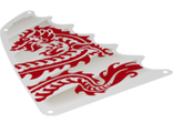 Cloth Sail Triangular 18 x 27 Tapered Top and Wavy Edge with Red Dragon Head, Forelegs and Tail Pattern, White (6195454)