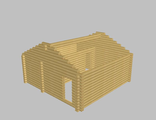Сруб бани 6х6 (5-стен) из оцилиндрованного бревна 20см с фронтонами