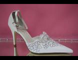 Свадебные белые открытые туфли с закрытым носиком и пяткой острый мыс кожаные маленький каблук салон