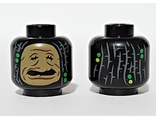 Minifigure, Head Dual Sided Shrunken Dre Head, Beaded Dreadlock Pattern - Hollow Stud, Black (3626cpb2408 / 6278545)