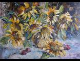 "Круглова Светлана. ""Подсолнухи и сливы"",  холст / масло,  50 х 70 см.,  2015 г."