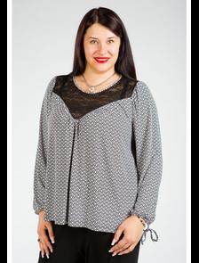Блуза с кружевной кокеткой 451-Lux. Размер 64- последний экземпляр