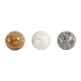 Шары декоративные DECORATIVE BALLS X3 OSTIA WHITE+GREY D15CM BONEарт.31792