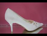 Свадебные туфли белый средний каблук острый мыс классические украшены стразами серебро  № 667-2611=АРН