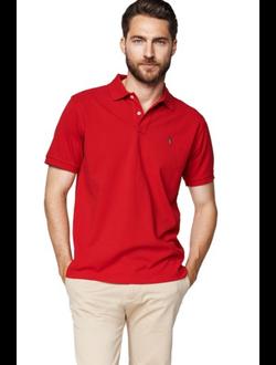 Поло GANT, однотонная с логотипом, цвет красный