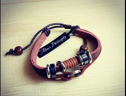 Мужской кожаный браслет панк-рок mp-81