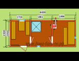 """Схема готовой  бани - размер 6 х 2,3 м. Печь """"Валдай"""" дымовая труба в стену, бак самонагревающий"""