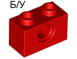 ! Б/У - Technic, Brick 1 x 2 with Hole, Red (3700 / 370021) - Б/У