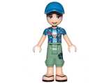 Friends Zack, Sand Green Cropped Trousers, Blue Shirt over Medium Blue T-Shirt, Blue Cap with Hole, n/a (frnd272)