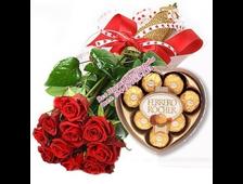 9 красных роз+конфеты подарок