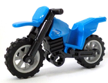 Motorcycle Dirt Bike, Complete Assembly with Black Chassis and Light Bluish Gray Wheels, Blue (50860c02)