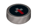 Tile, Round 1 x 1 with Pixelated Red and White on Black Background Minecraft Compass Pattern, Flat Silver (98138pb073 / 6177548)