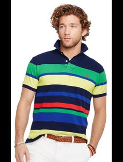 Поло Polo Ralph Lauren с логотипом в широкую разноцветную полоску