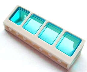 Window 2 x 8 x 2 Boat with Trans-Light Blue Glass, White (89648c02)