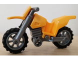 Motorcycle Dirt Bike, Complete Assembly with Flat Silver Chassis and Flat Silver Wheels, Bright Light Orange (50860c07)