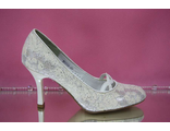 Свадебные туфли айвори купить интернет расшиты серебренной ниткой среднийширокий устойчивый каблук