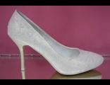 Свадебные туфли круглый мыс средний каблук шпилька светлое золото украшены декором выбитыми цветами № 607А-580S=GOLD