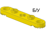 ! Б/У - Technic, Plate 1 x 5 with Toothed Ends, 2 Studs and Center Axle Hole, Yellow (2711) - Б/У