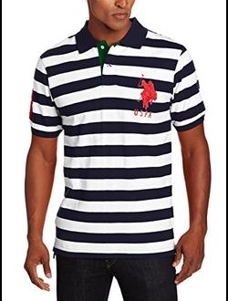 Поло U.S. Polo Assn с логотипом, в широкую горизонтальную черную и белую полоски